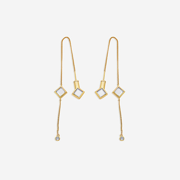 fall modern indian jewelry trends - modern minimal - Ayaana Diamond Mirror Needle-Thread Delicate Earrings