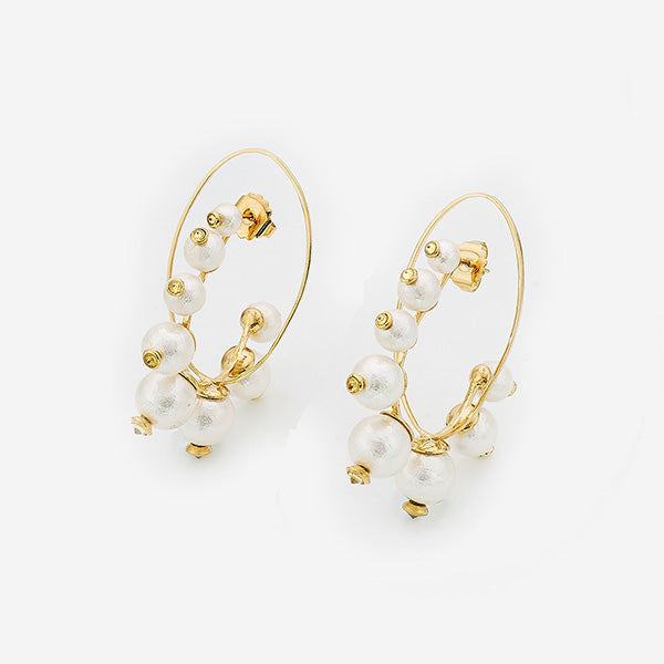 fall modern indian jewelry trends - pearl power - Empress Warrior Pearl Hoop Earrings