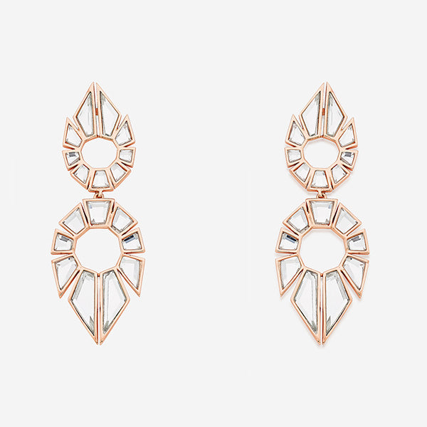 fall modern indian jewelry trends - shape shifting - Bombay Deco Statement Mirror Earrings