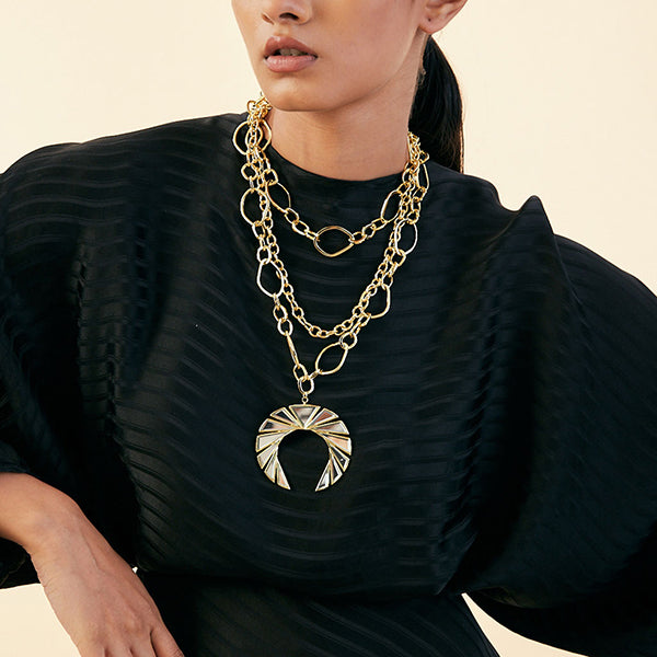 layered necklaces - Demi Goddess Chain & Mirror Medallion Layered Necklace 2