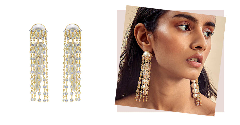 modern-indian-jewelry-summer-pearls - Limelight Pearl & Chain Long Earrings 3