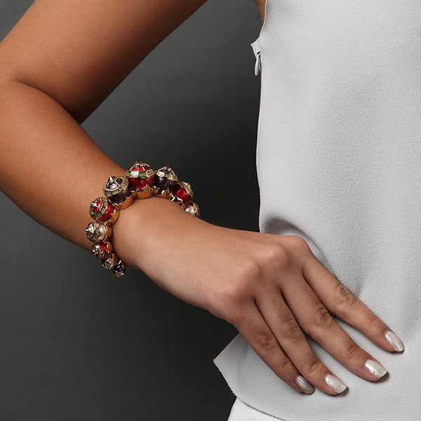 oversized-modern-indian-jewelry-Empress Warrior Multi Color Pearl Turret Stackable Cuff