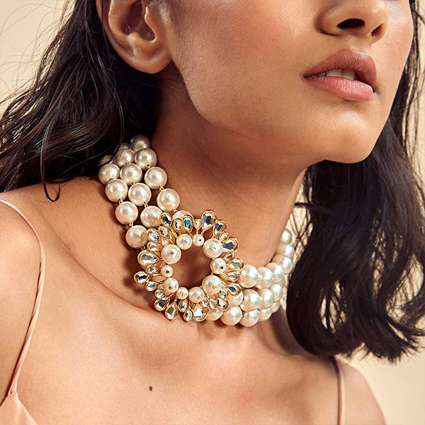 oversized-modern-indian-jewelry-Limelight Mirror & Pearl Statement Necklace-2