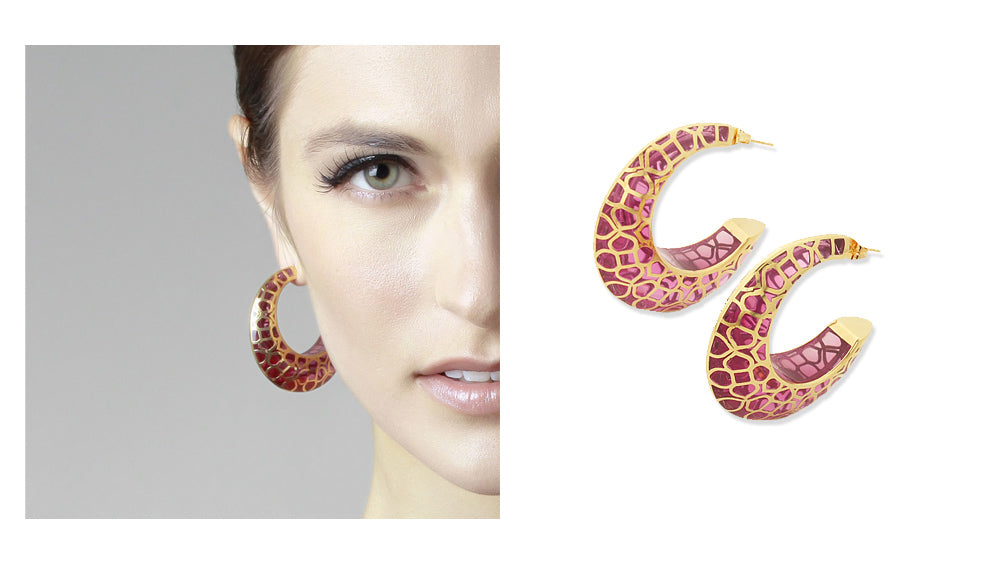 summer-to-fall-statement-earrings-indian-jewelry-Temple Muse Pink Resin Hoop Earrings 003