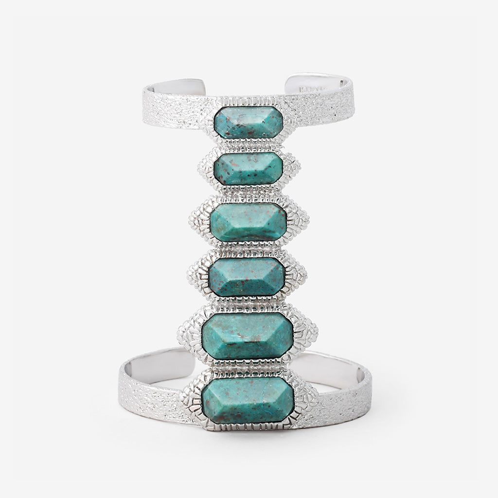 Isharya Silver African Turquoise Croc Petite Power Cuff Bracelet