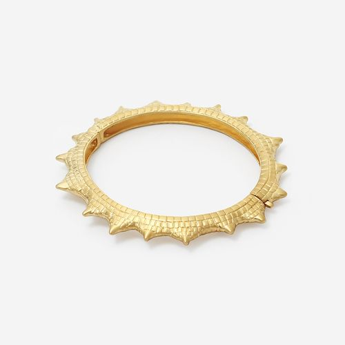 Isharya Croc Spiked Hinged Bangle Bracelet
