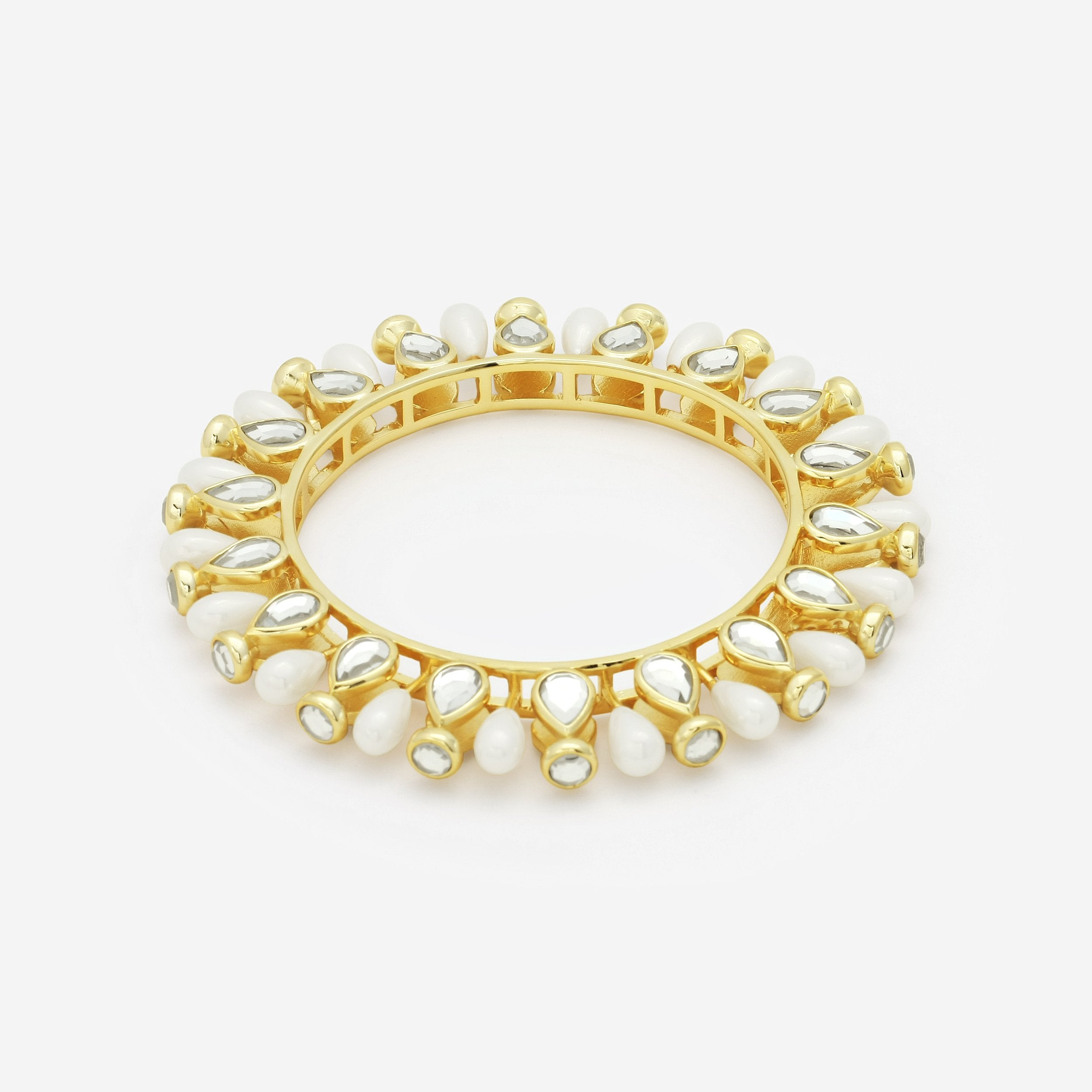 Isharya Paradise Dew Pearl Statement Bangle Bracelet