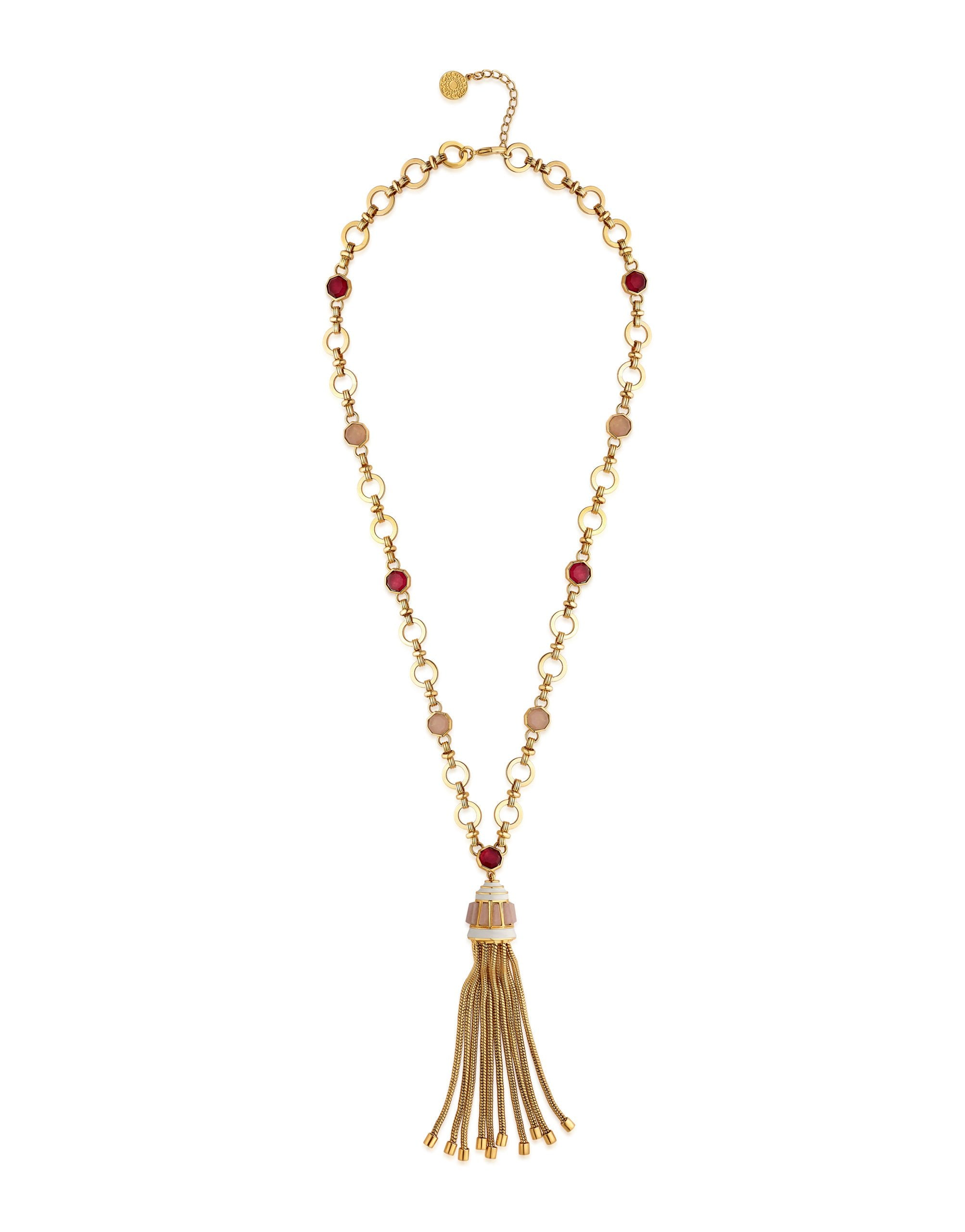 Isharya Borderless Tassel Pink Quartz Necklace