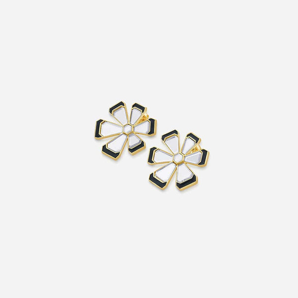 Isharya Ayaana Mirror Enamel Floral Stud Earrings