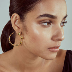 Isharya Ayaana Pyramid Stud Orange Peel Earrings
