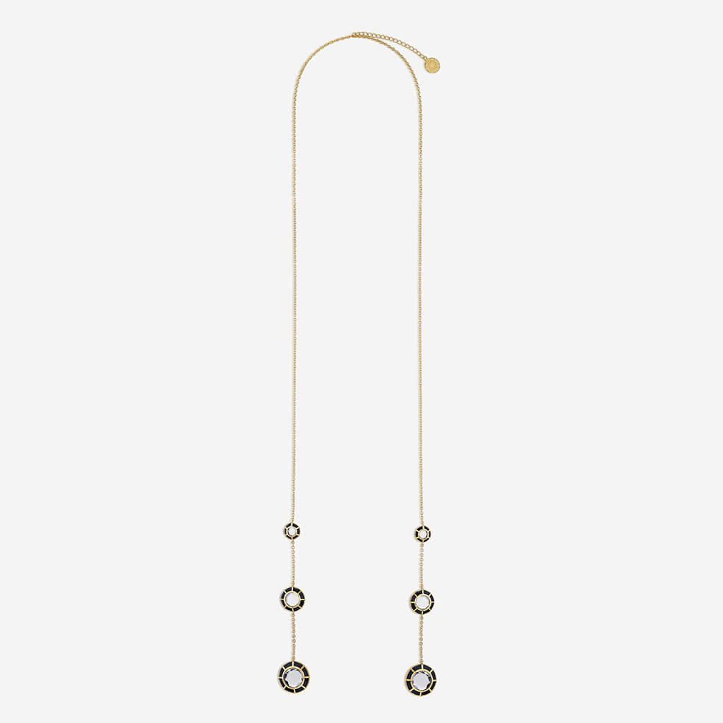 Isharya Ayaana Three Mirror Black Lariat Necklace