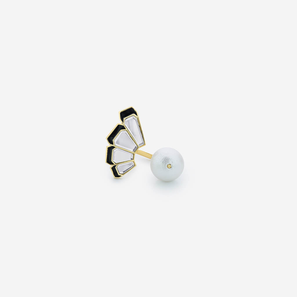 Isharya Ayaana Mirror and Pearl Fan Ring