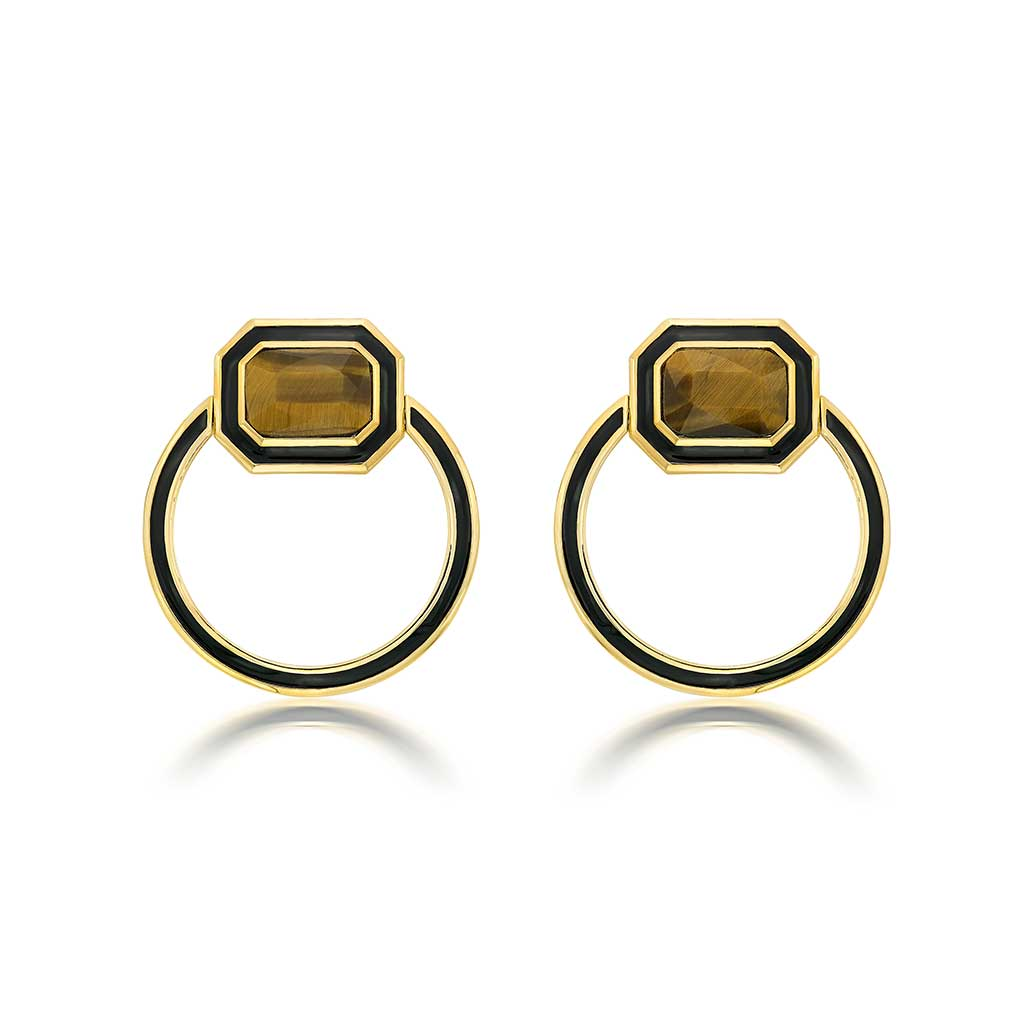 Isharya Borderless Tiger's Eye Shadow Loop Earrings