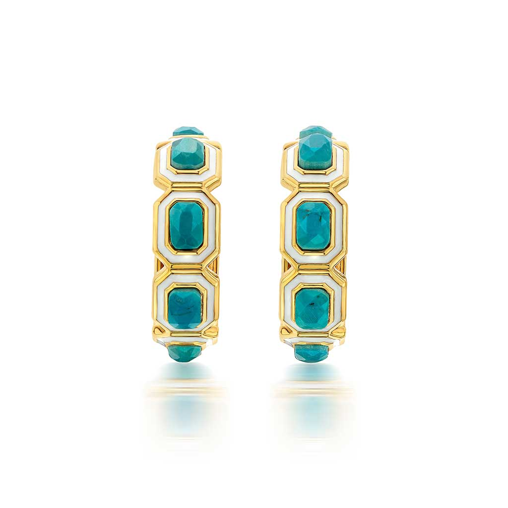 Isharya Borderless Hoop Turquoise & Ivory Enamel Earrings