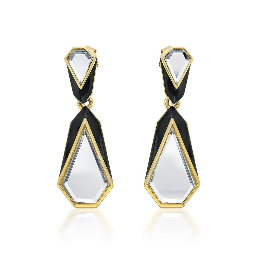 Isharya Borderless Mirror & Enamel Libra Earrings