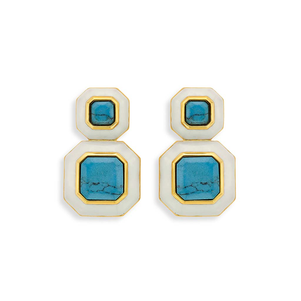 Isharya Borderless Octagon Libra Turquoise Earrings