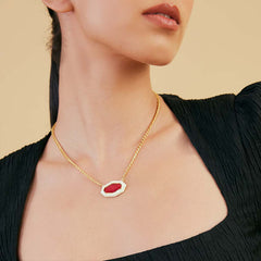 Isharya Borderless Pendant Pink Quartz Necklace