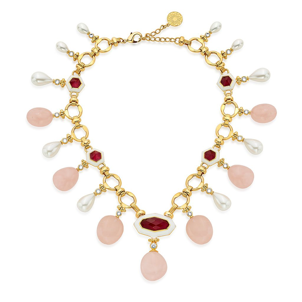 Isharya Borderless Pearl & Rose Quartz Statement Necklace
