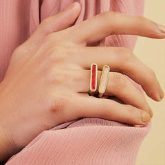 Isharya Borderless Stackable Pink Chalcedony Ring