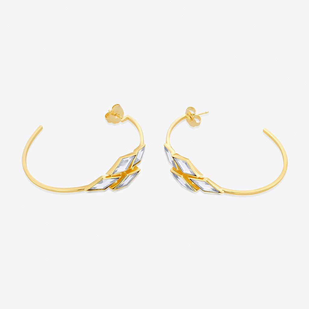 Isharya Demi Goddess Rhombus Mirror Hoop Earrings