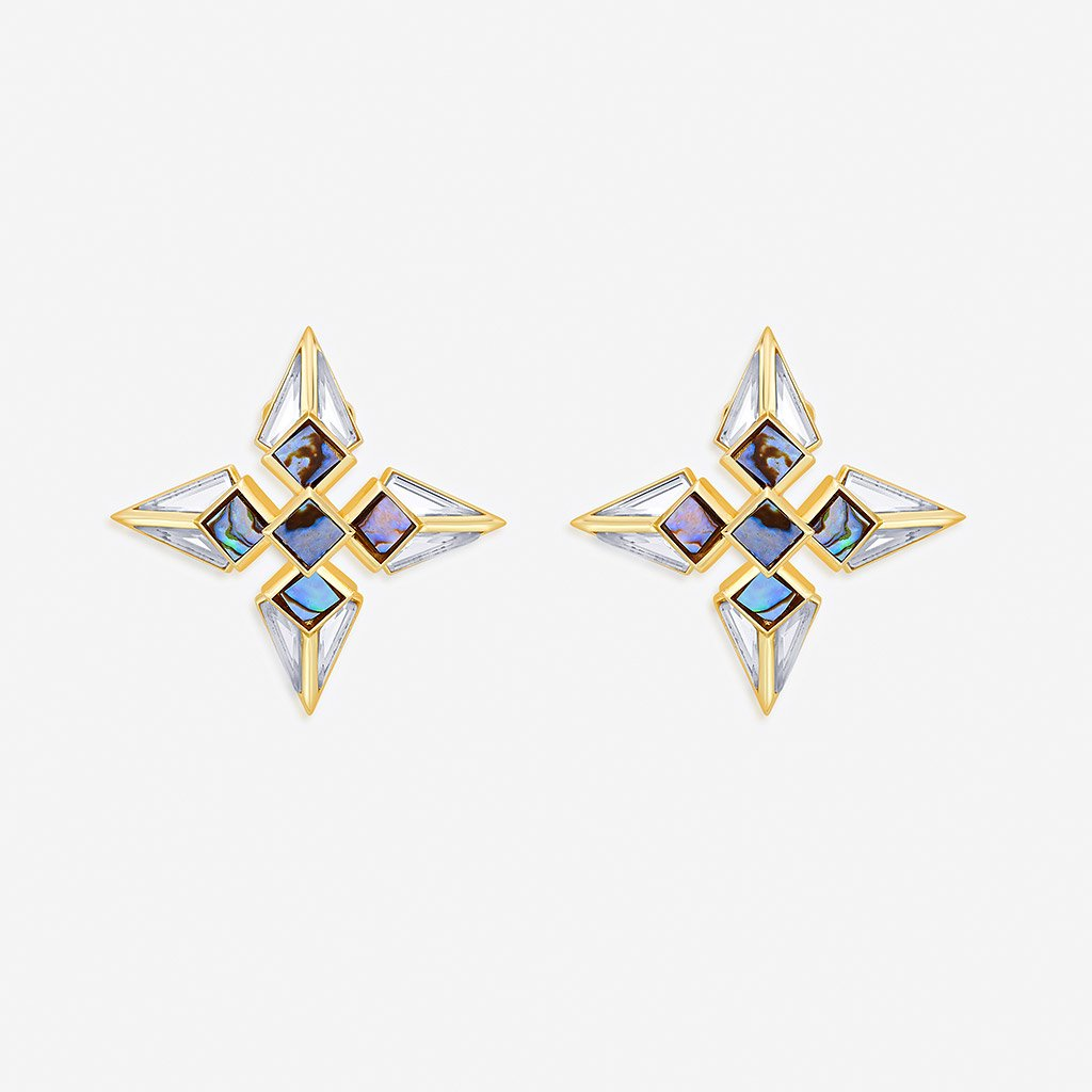 Isharya Demi Goddess Mirror and Mother of Pearl Stud Earrings