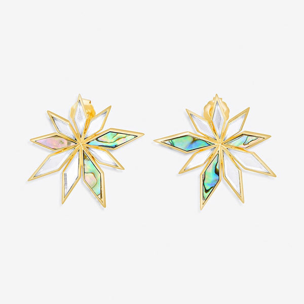 Isharya Demi Goddess Abstract Mirror Flower Stud Earrings