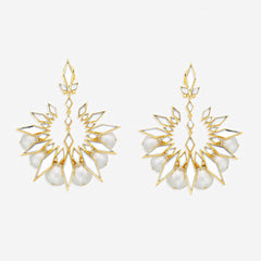 Isharya Demi Goddess Rhombus Mirror and Pearl Chandbali Earrings