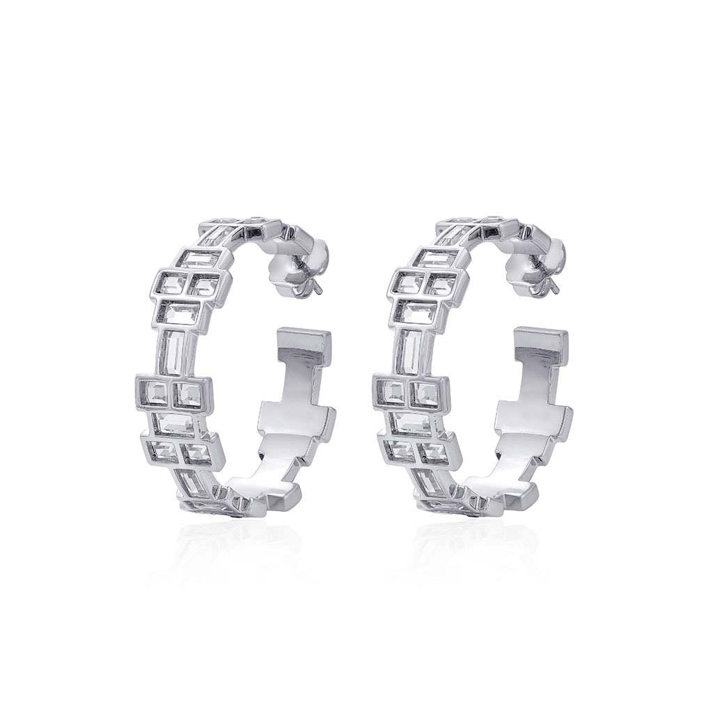 Isharya Silver Disco Mirror Hoop Earrings