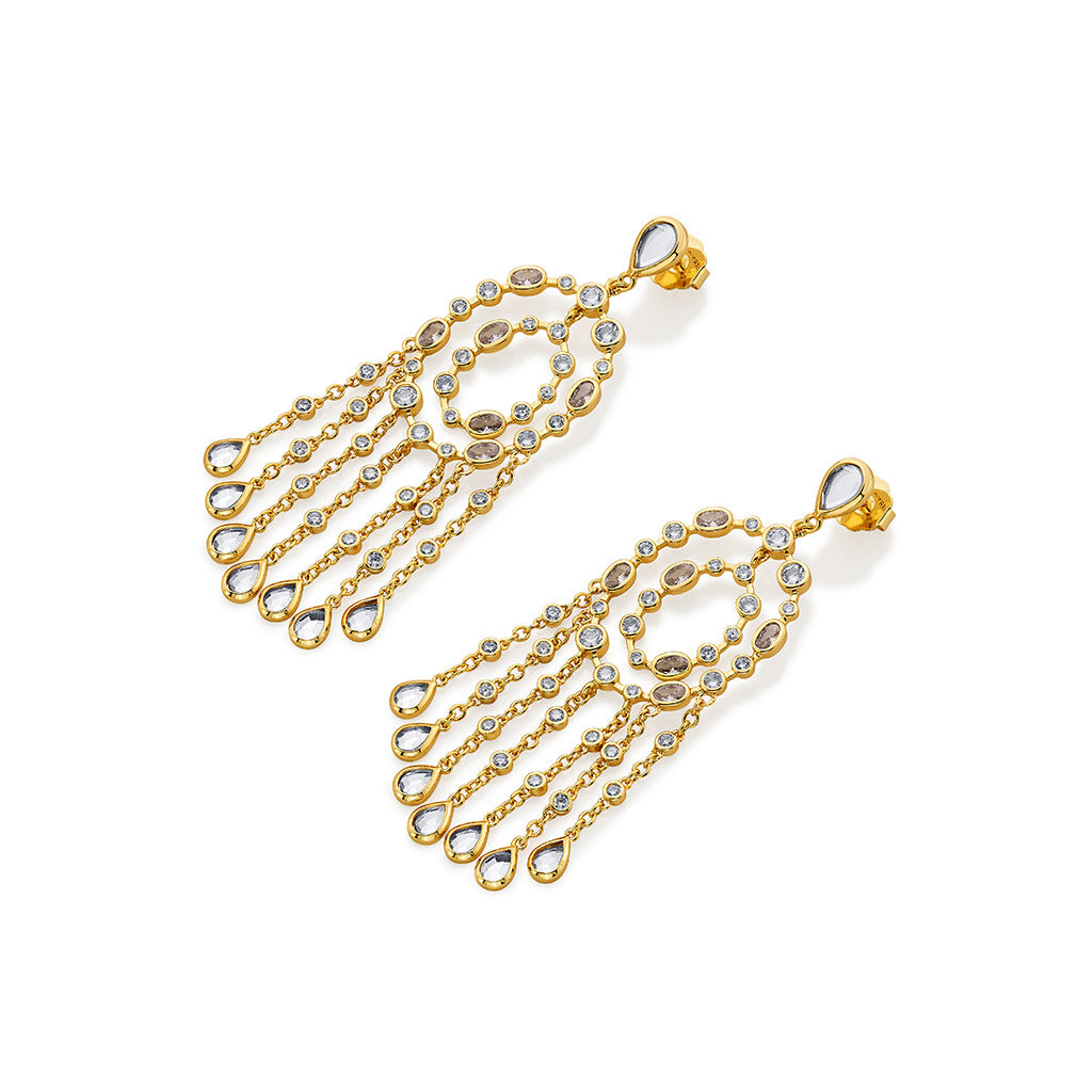 Isharya Paradise Dew Oval Chandelier Statement Earrings
