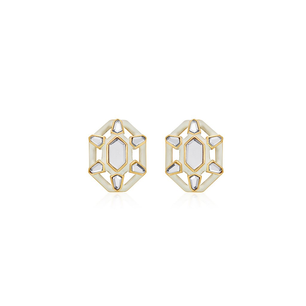 Isharya Borderless Frost Statement Stud Earrings