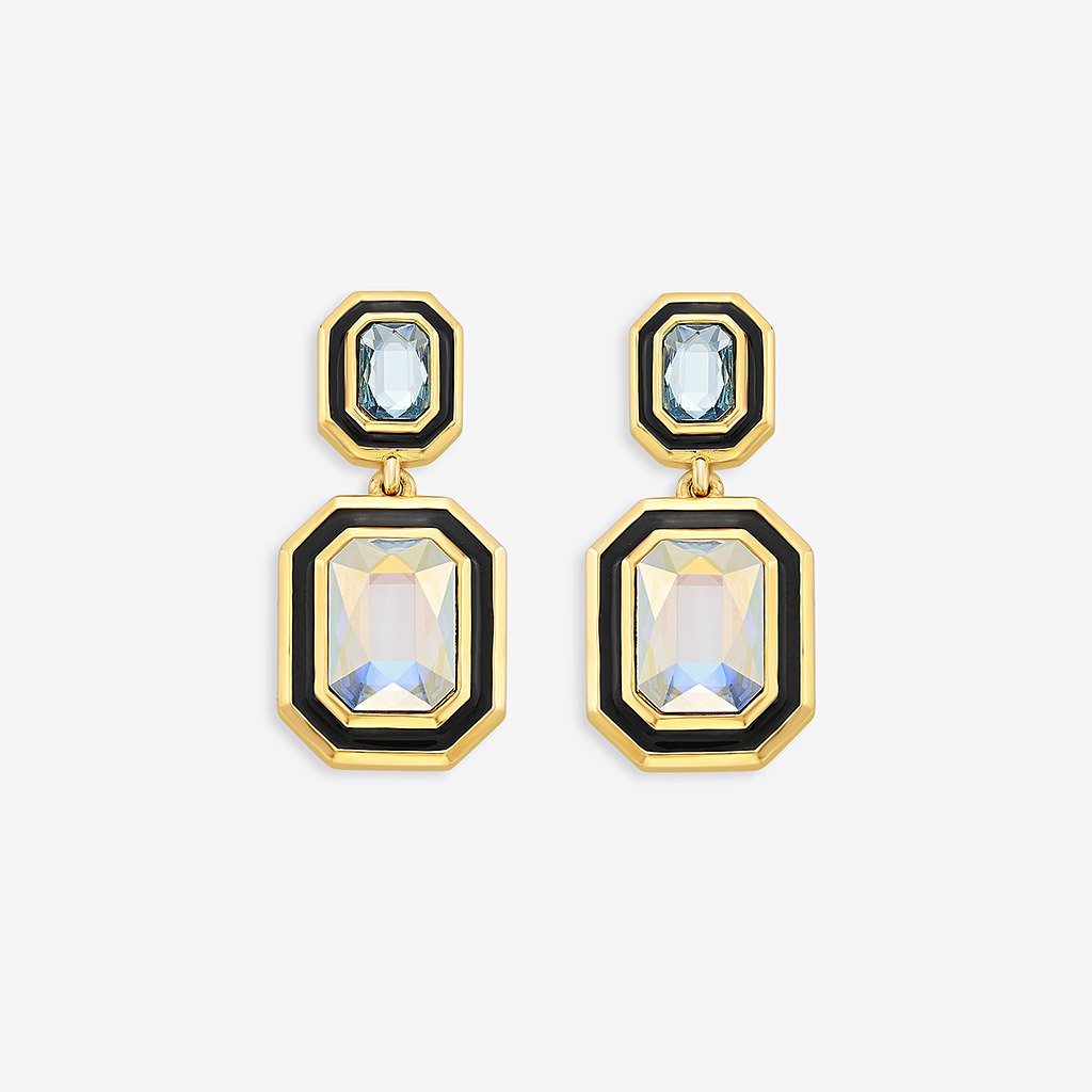 Isharya Glitter on the Go Swarovski Duo Stone Drop Earrings