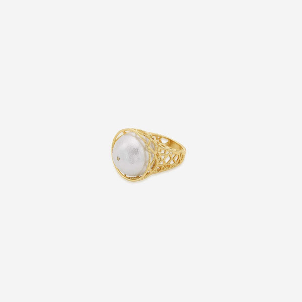 Isharya Gypsy Soul Pearl Filigree Statement Ring