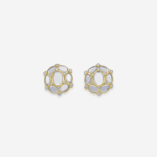 Isharya Limelight Oval Mirror Stud Earrings