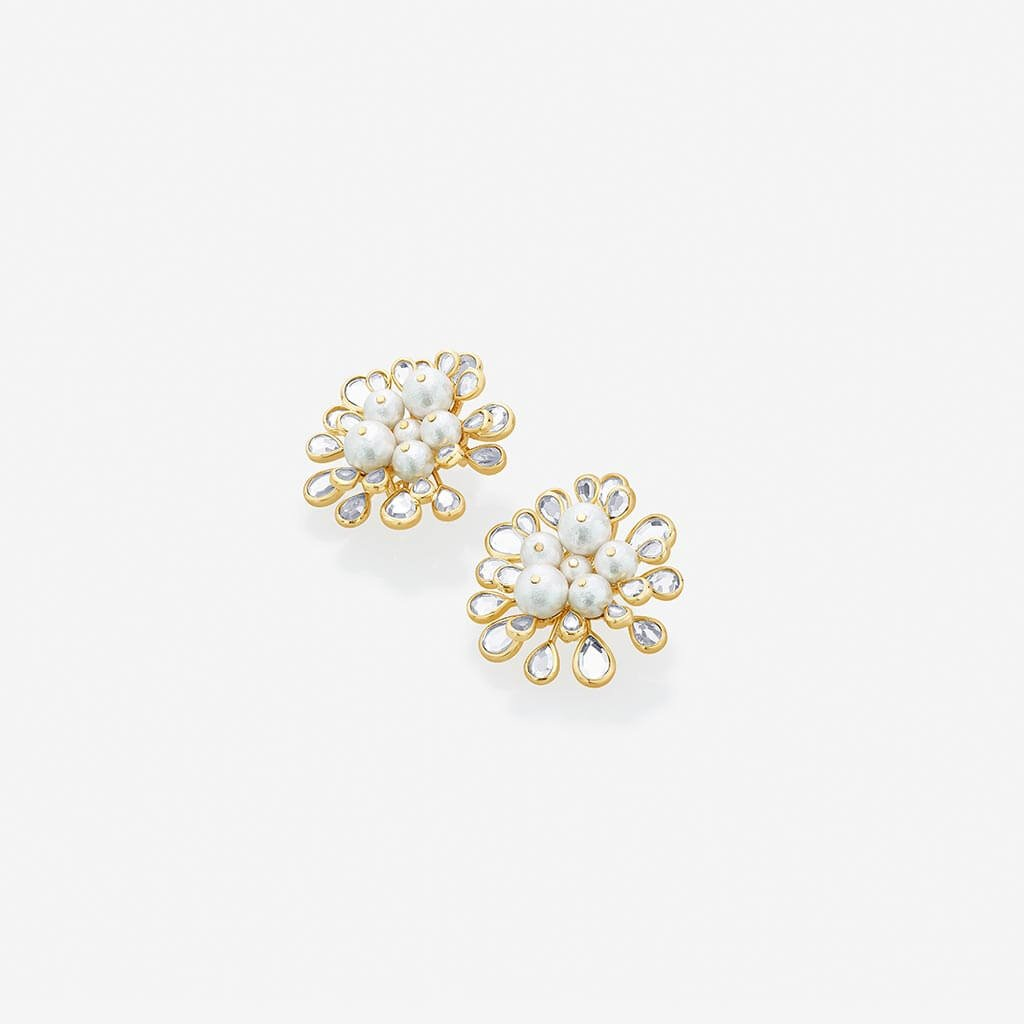 Isharya Limelight Cluster Of Pearls Statement Stud Earrings