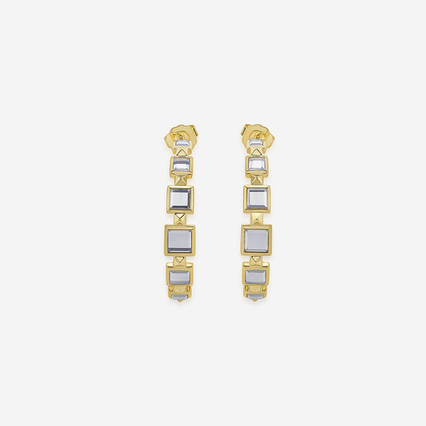 Isharya Limelight Mirror & Metal Pyramid Hoop Earrings