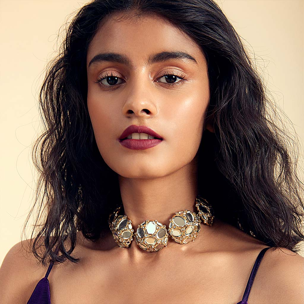Isharya Mirrors on the Move Honeycomb Mirror Choker Necklace