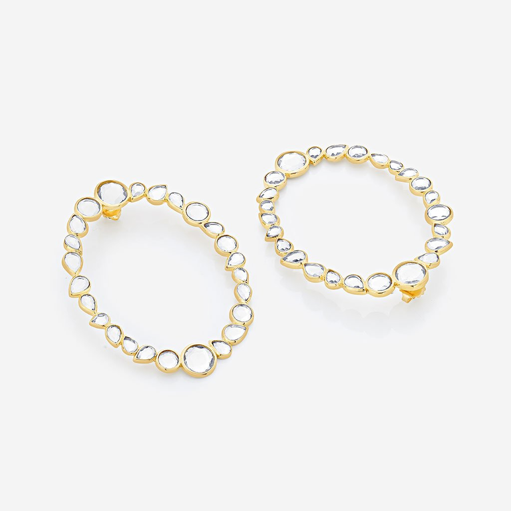 Isharya Mirrors on the Move Dancing Mirror Side Hoop Earrings