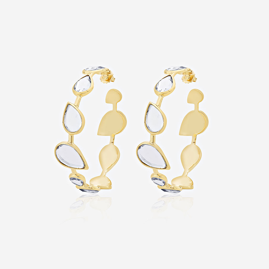Isharya Mirrors on the Move Dancing Pear Mirror Hoop Earrings