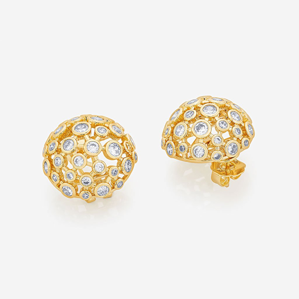 Isharya Modern Maharani Mirror Mesh Stud Earrings