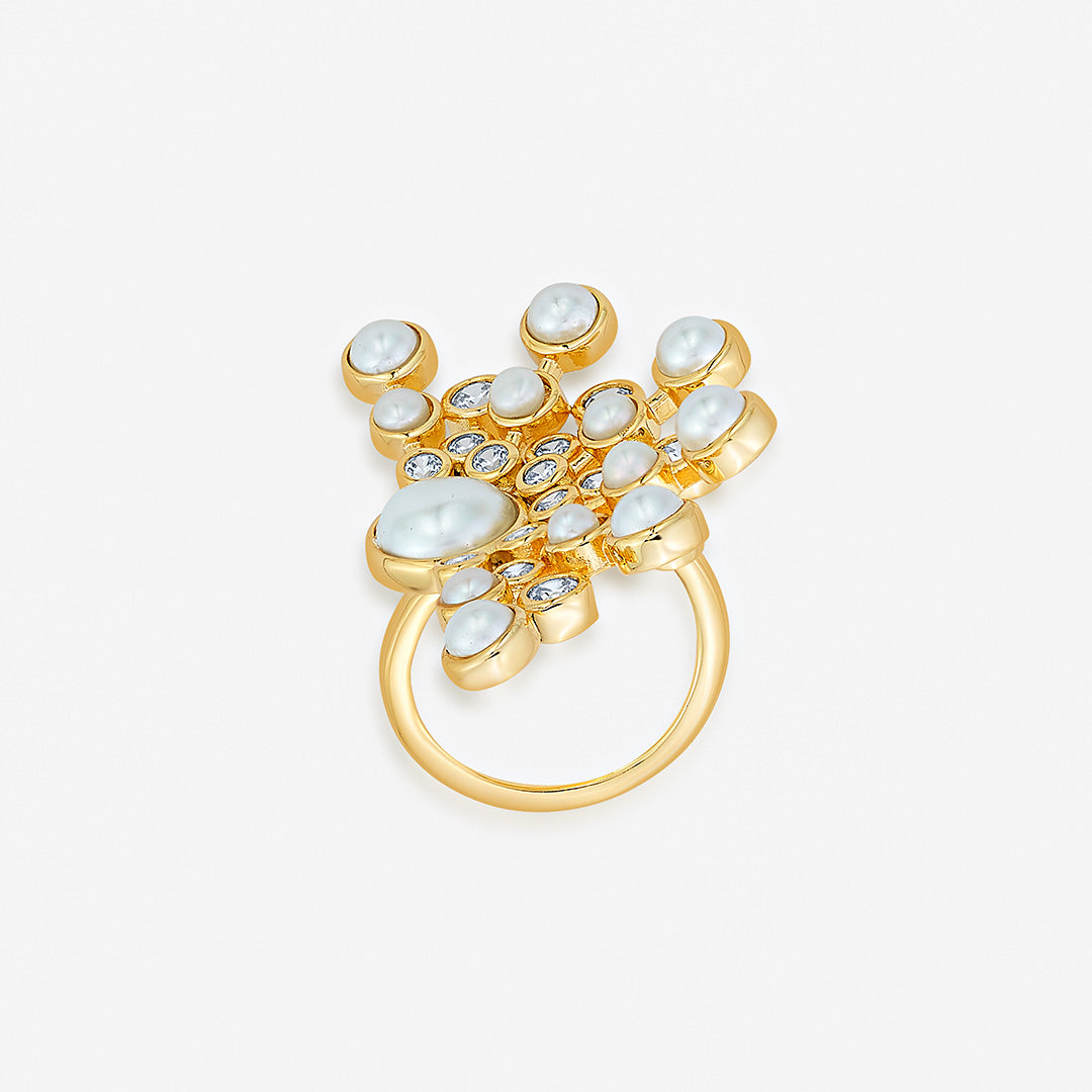 Isharya Modern Maharani Half Moon Starburst Statement Ring