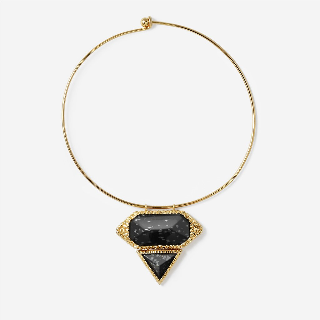 Isharya Black Croc Choker Necklace