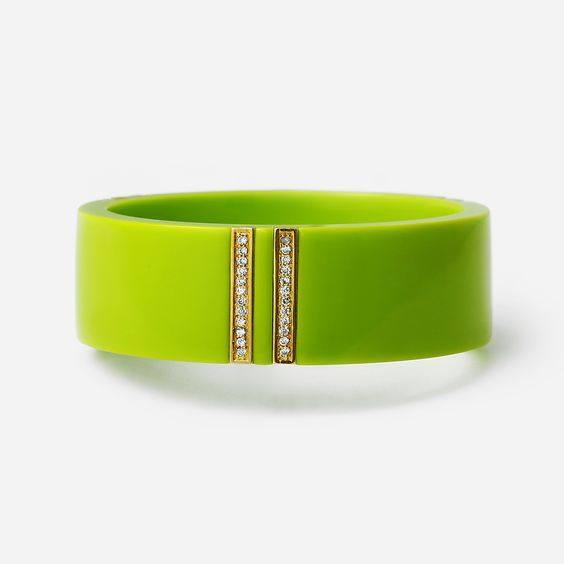 Isharya Neon Green Vendome Lily Bangle Bracelet