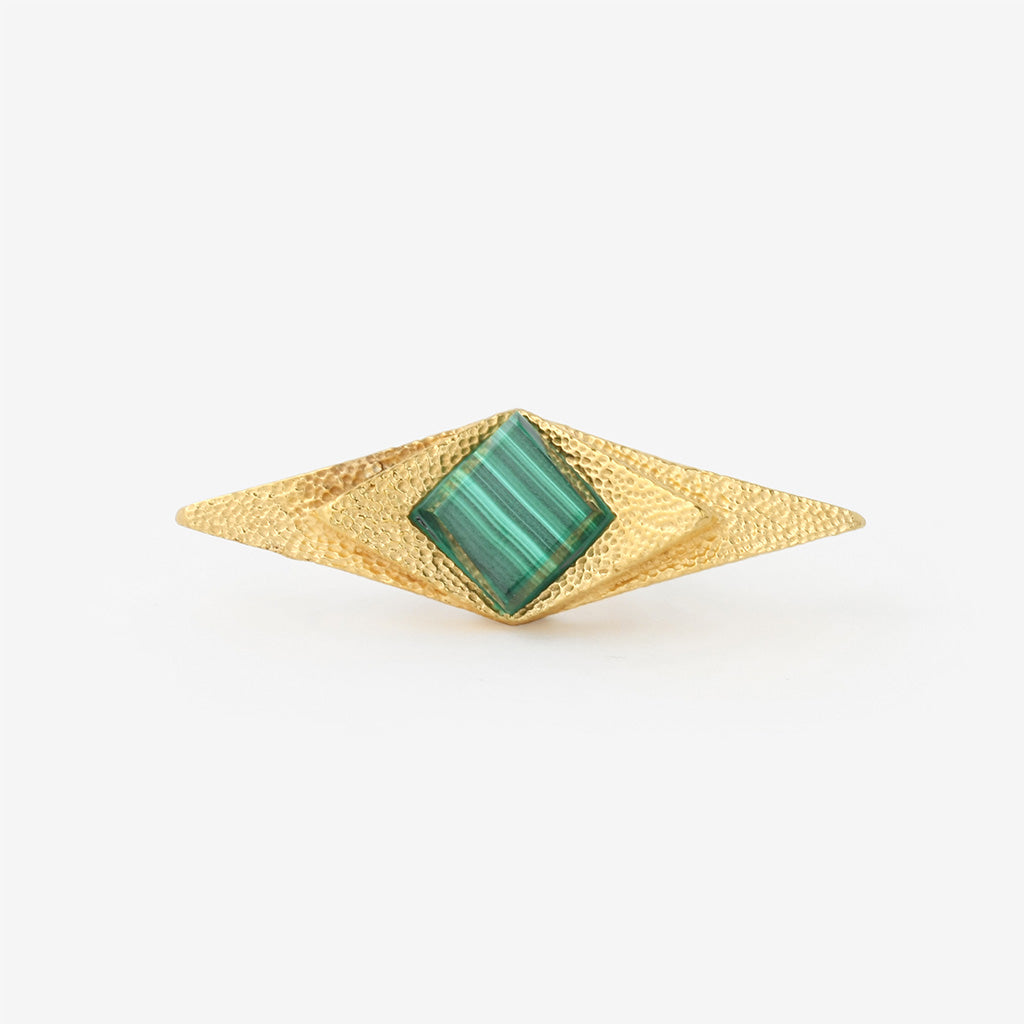 Isharya Green Malachite Origami Galactica Statement Ring