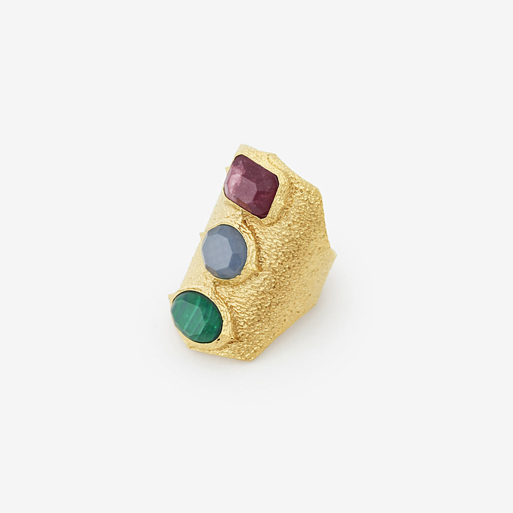 Isharya Abstract Mughal Three Stone Statement Ring