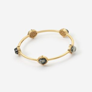 Isharya Black Jasper Rani Rocks Stackable Bangle Bracelet