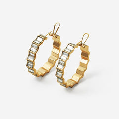 Isharya Deco Mirror Hoop Earrings