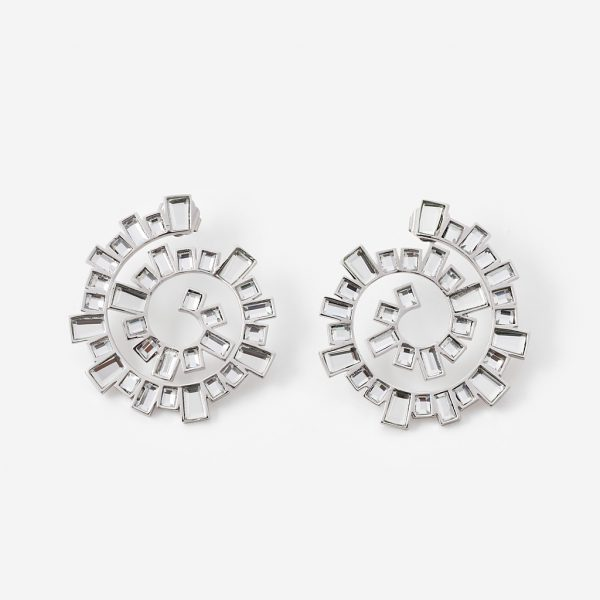 Isharya Silver Disco Mirror Spiral Earrings