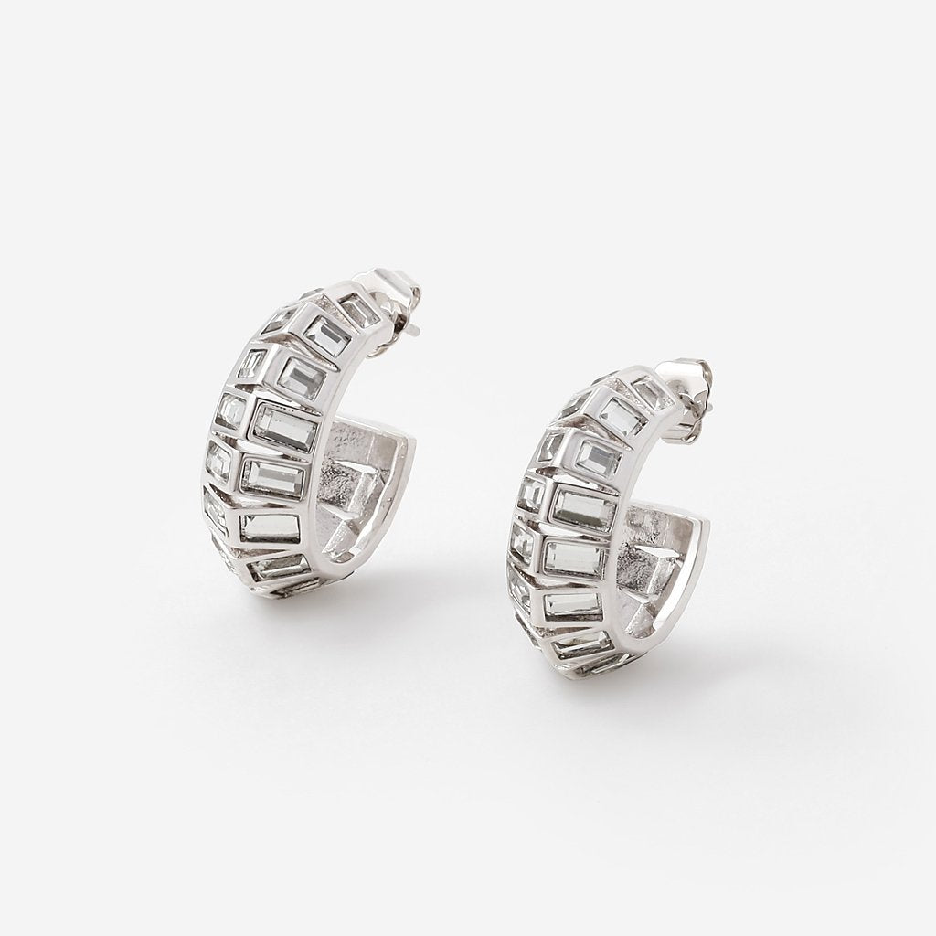 Isharya Silver Disco Mirror Rib Hoop Earrings