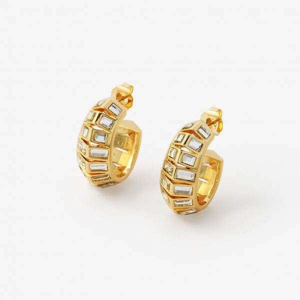 Isharya Disco Mirror Rib Hoop Earrings
