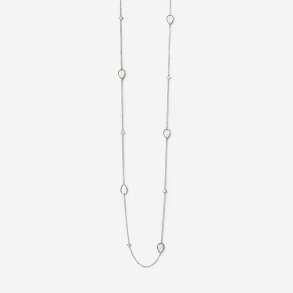 Isharya Silver Dew Drop Mirror Long Necklace